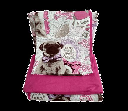 Jogo de Lençol Solteiro 3 Peças de Malha Rosa Pink Estampa de Cachorro