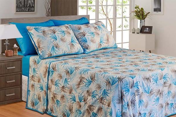 Jogo de Lençol Casal 4 Peças de Malha Estampa Tropical Azul