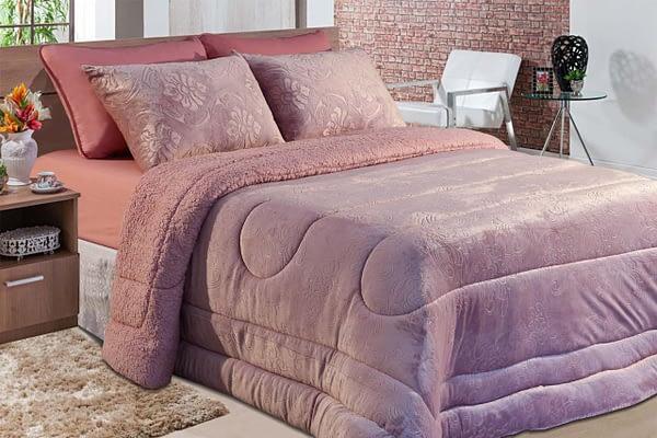 Cobedron plush casal rosa floral