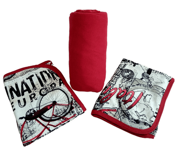 lençol de casal 3 peças vermelho estampado
