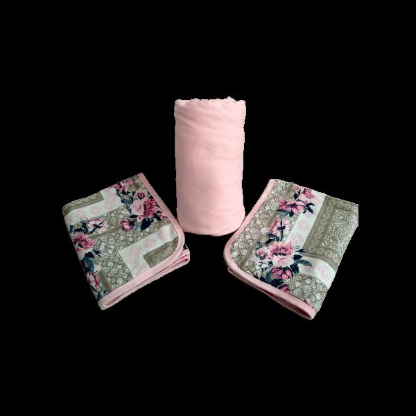 Conjunto 3 Peças Casal em Malha Rosa Claro Floral