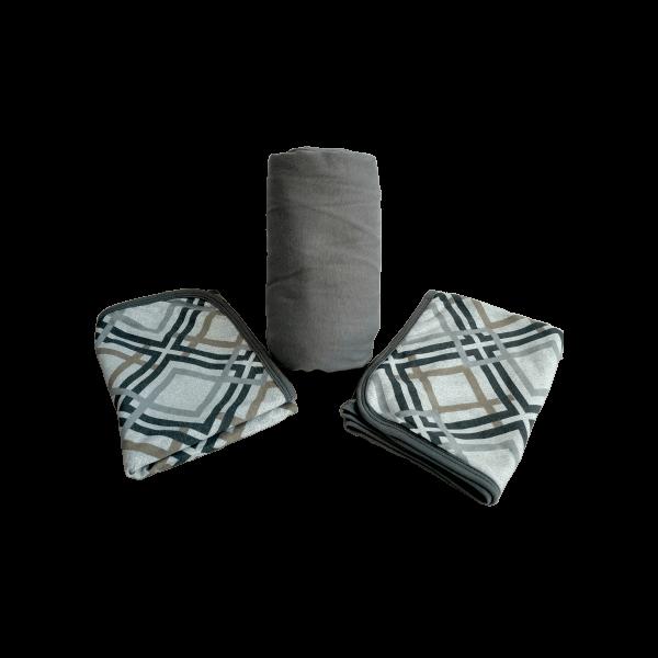 Conjunto 3 Peças Queen Cinza com Estampa Geométrica