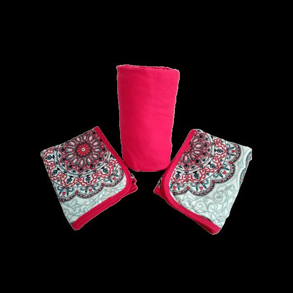 Conjunto 3 Peças Queen Vermelho Cereja Mandala