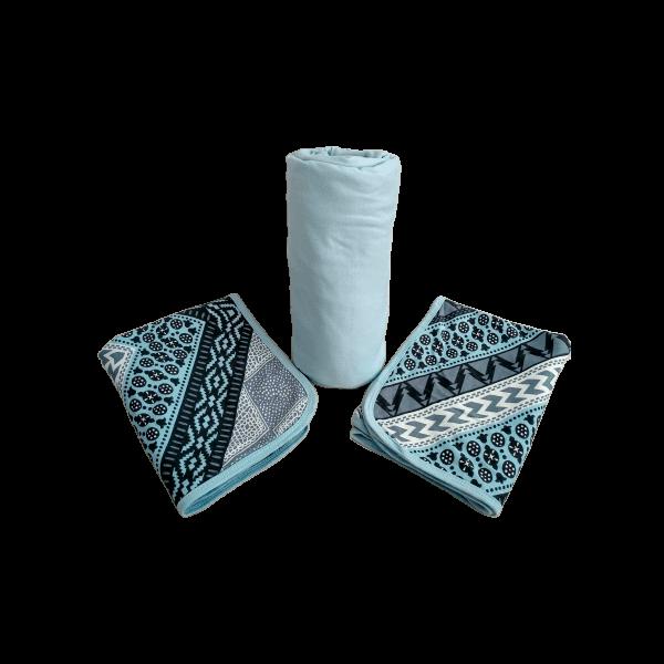 Conjunto 3 Peças Queen Azul Claro Estampa Geométrica