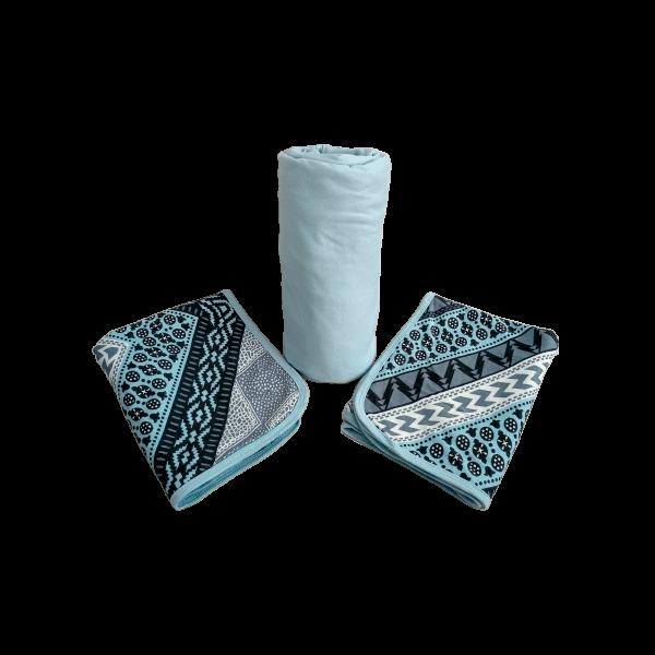3 peças casal em malha Azul Claro Estampado