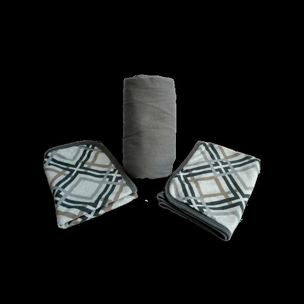 Conjunto 3 peças casal em malha Cinza Estampa Geométrica