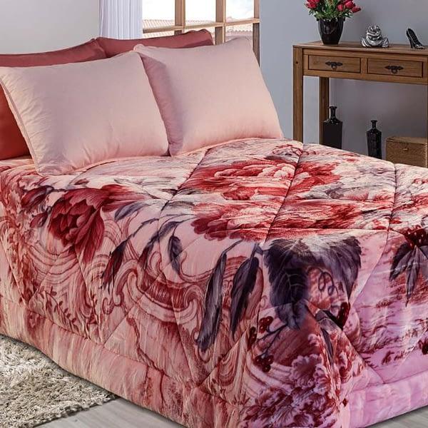 Cobedrom Dupla Face Rosa com Estampa Floral