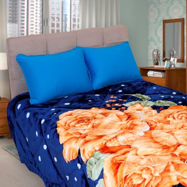 Cobedrom Dupla Face Azul Floral