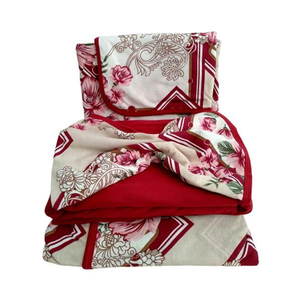 Jogo de Lençol Casal 4 Peças de Malha Floral Vermelho