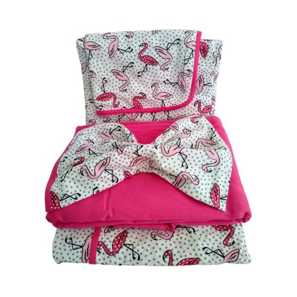 Jogo de Lençol Casal 4 Peças de malha rosa com estampas flamingos
