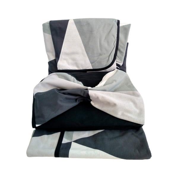 Jogo de Lençol Casal 4 Peças de Malha Estampa geométrica preto