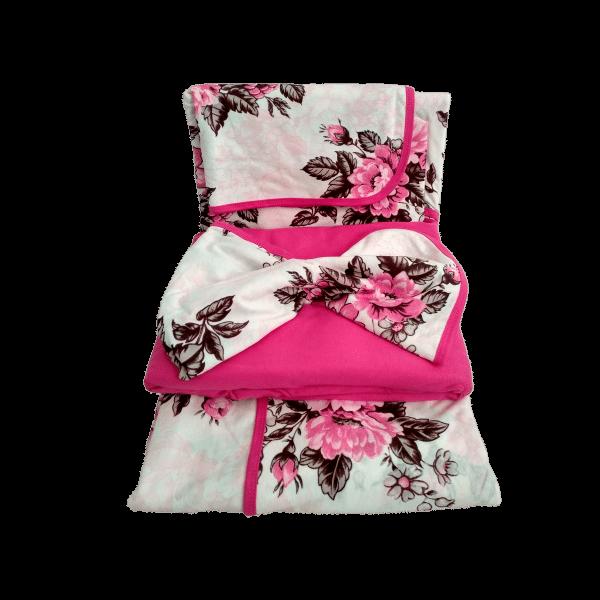 Jogo de Lençol Solteiro 3 Peças de Malha Rosa Floral
