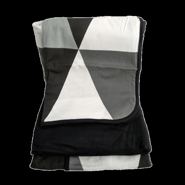 Jogo de lençol solteiro estampa geométrica preto e cinza