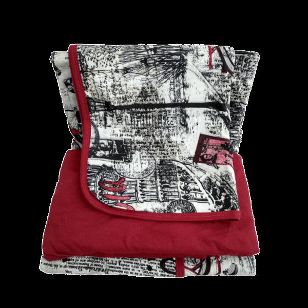 Jogo de lençol solteiro 3 peças vermelho vintage