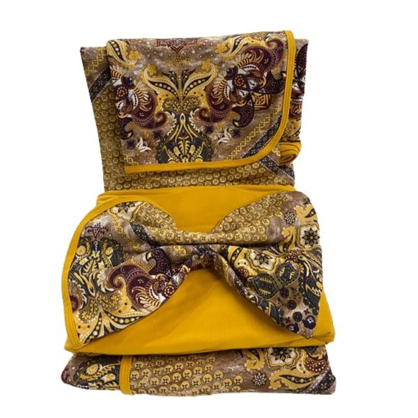 Jogo de Lençol Queen 4 Peças de Malha Amarelo Ouro Indiano