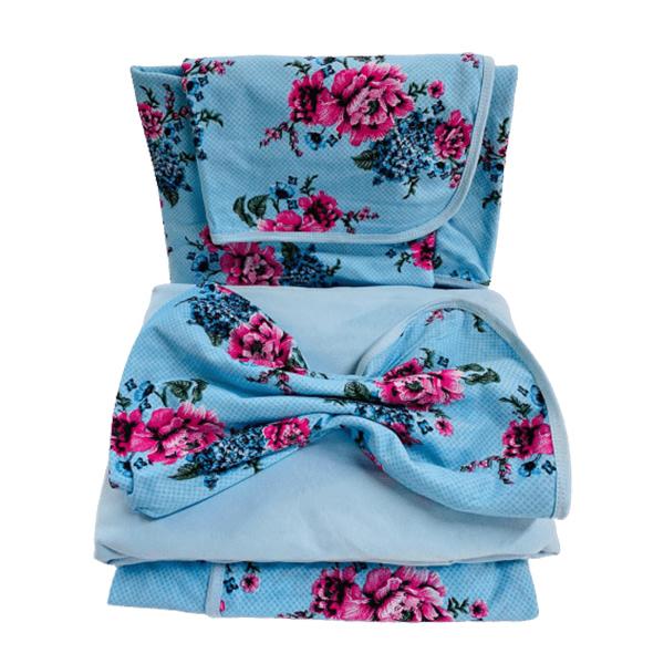 Jogo de Lençol Queen 4 Peças de Malha Estampa Floral Azul Bebê