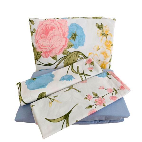 jogo de lençol casal algodão jardim florido