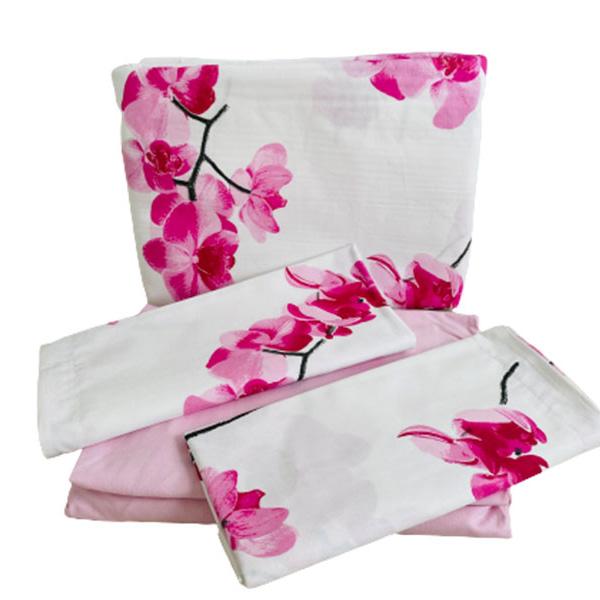 Jogo de Lençol Casal Algodão Orquídeas Rosas