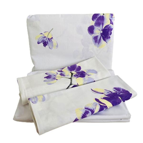 Jogo de Lençol Casal Algodão Orquídeas Roxas